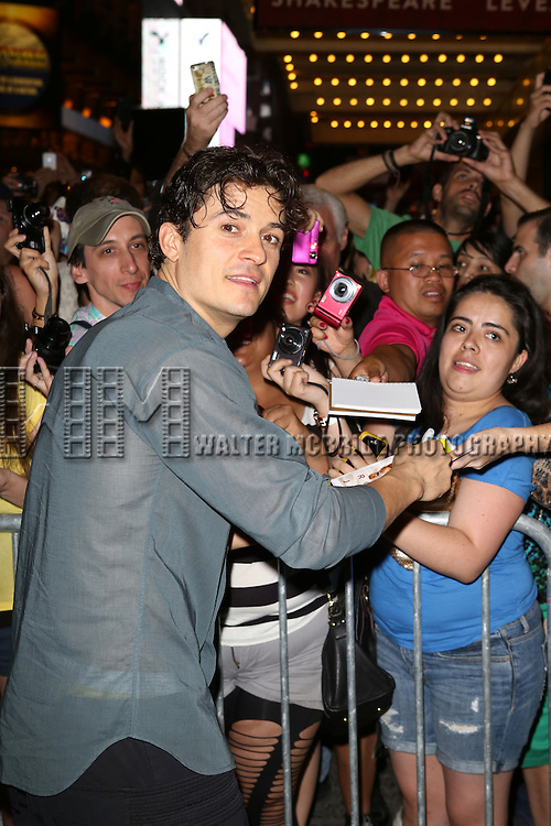 "Orlando Bloom greeting fans at the stage door after the First Performance of ""Romeo And Juliet"" On Broadway at the Richard Rodgers Theatre in New York City on 8/24/2013"