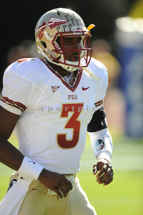 EJ MANUEL, of the Florida State Seminoles, in action, during FSU's game against the Duke Blue Devils on October 15, 2011 at  Wallace Wade Stadium in Durham, NC. Florida State beat Duke 41-16.