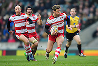 Henry Purdy of Gloucester Rugby goes on the attack. Aviva Premiership match, between Leicester Tigers and Gloucester Rugby on February 11, 2017 at Welford Road in Leicester, England. Photo by: Patrick Khachfe / JMP