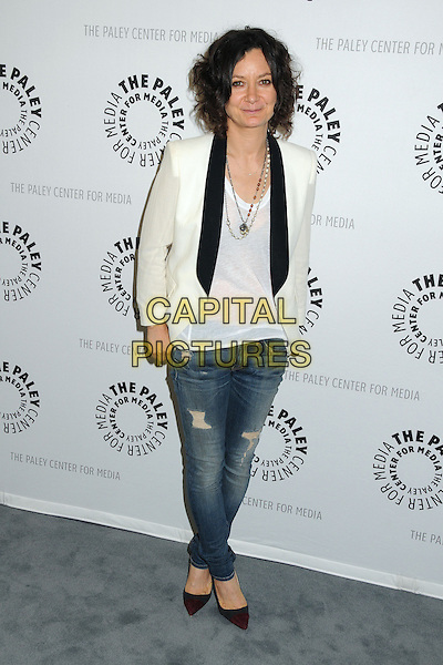 Sara Gilbert<br /> The Paley Center for Media Presents: An Evening With &quot;Web Therapy&quot; held at The Paley Center, Beverly Hills, California, USA.<br /> July 16th, 2013<br /> full length black lapels white jacket top jeans denim<br /> CAP/ADM/BP<br /> &copy;Byron Purvis/AdMedia/Capital Pictures