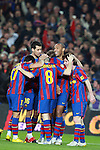 Football Season 2009-2010. Barcelona's players Thierry Henrry, Andres Iniesta, Sergio Busquets, Xavi Hernandez congratulates Lionel Messi for his second goal during their spanish liga soccer match between Barcelona vs Valencia at Camp Nou  stadium in Barcelona. 14 March 2010.