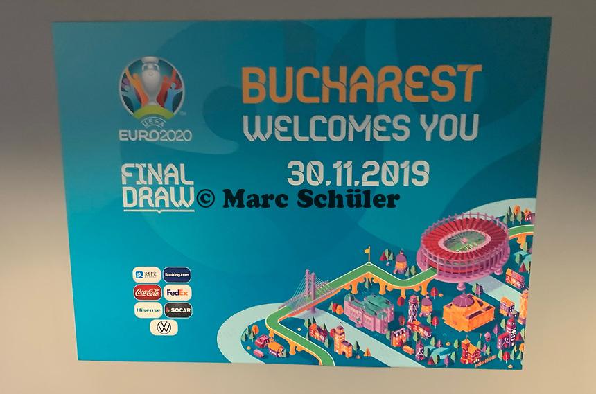Begrüßungsschild am Flughafen Otopeni - 30.11.2019: UEFA EURO2020 Auslosung, Romexpo Bukarest, DISCLAIMER: UEFA regulations prohibit any use of photographs as image sequences and/or quasi-video.