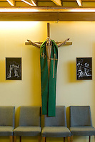 Carving of Jesus on the Cross in the school Chapel.  Roman Catholic State secondary school.