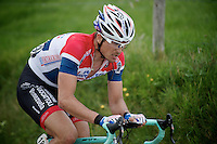 Dutch Champion Johnny Hoogerland (NLD/AndroniGiocattoli-Venezuela) up the 'steepest climb' in Holland: Keutenberg (22%)<br /> <br /> Amstel Gold Race 2014