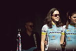 Sofia Bertizzolo (ITA) Astana Womens Team at the Team presentation of La Fleche Wallonne Femmes 2018 running 118.5km from Huy to Huy, Belgium. 17/04/2018.<br /> Picture: ASO/Thomas Maheux | Cyclefile.<br /> <br /> All photos usage must carry mandatory copyright credit (&copy; Cyclefile | ASO/Thomas Maheux)