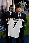 Mariano Diaz and Florentino Perez during the Official presentation of Mariano Diaz at Estadio Santiago Bernabeu in Madrid, Spain. August 31, 2018. (ALTERPHOTOS/A. Perez Meca)