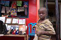 Stall holder's child in Dambwa Central Market, Livingstone, Zambia
