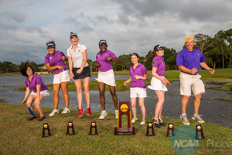 15 May 2015: The Williams College women's golf team following their win at the Division III Women's Golf Championship at the Mission Inn Resort in Howey-in-the-Hills, FL. Williams College won the team championship with a score of +111 and McKenzie Ralston of Mary Hardin-Baylor took individual honors with a score of +13. Matt Marriott / NCAA Photos