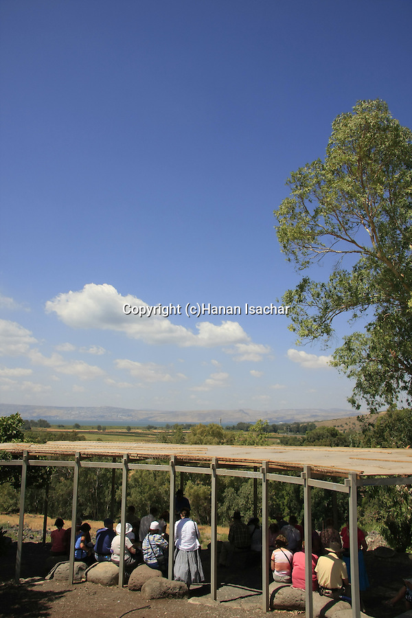 Israel, pilgrims at et-Tell identified with ancient Bethsaida overlooking the Sea of Galilee