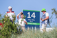 Richard McEvoy (ENG) and  Oliver Fisher (ENG) on the 14th tee during the 1st round of the Alfred Dunhill Championship, Leopard Creek Golf Club, Malelane, South Africa. 28/11/2019<br /> Picture: Golffile | Tyrone Winfield<br /> <br /> <br /> All photo usage must carry mandatory copyright credit (© Golffile | Tyrone Winfield)