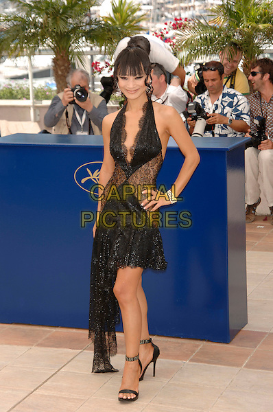 "BAI LING.""Southland Tales"" photocall.59th International Cannes Film Festival, France.21st May 2006.Ref: PL.full length hand on hip black dress lace halterneck see through sheer.www.capitalpictures.com.sales@capitalpictures.com.©Phil Loftus/Capital Pictures"