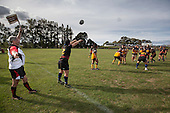Andrew Jones throws to a lineout for Onewhero. Counties Manukau Premier Club rugby game between Te Kauwhata and Onewhero, played at Te Kauwhata on Saturday April 16th 2016. Onewhero won the game 37 - 0 after leading 13 - 0 at Halftime. Photo by Richard Spranger.