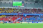 Stockholm 2014-08-31 Fotboll Allsvenskan Djurg&aring;rdens IF - Malm&ouml; FF :  <br /> Vy &ouml;ver Tele2 Arena under matchen med Djurg&aring;rdens supportrar p&aring; l&auml;ktarna<br /> (Foto: Kenta J&ouml;nsson) Nyckelord:  Djurg&aring;rden DIF Tele2 Arena Malm&ouml; MFF supporter fans publik supporters inomhus interi&ouml;r interior
