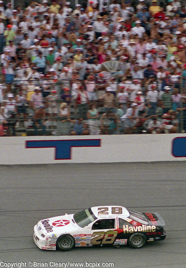 Davey Allison 1st place winner action Pepsi 400 at Daytona International Speedway in Daytona beach, FL on July 1, 1989. (Photo by Brian Cleary/www.bcpix.com)