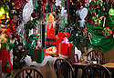 04/12/14<br /> <br /> Decorations in the main dining room.<br /> <br /> The Hanging Gate pub in Chapel en le Frith, in the Derbyshire Peak District claims to have the largest display  of Christmas decorations inside its bar and restaurants. <br /> <br /> Full story here: http://www.fstoppress.com/articles/christmas-pub/<br /> <br /> ***ANY UK EDITORIAL PRINT USE WILL ATTRACT A MINIMUM FEE OF &pound;130. THIS IS STRICTLY A MINIMUM. USUAL SPACE-RATES WILL APPLY TO IMAGES THAT WOULD NORMALLY ATTRACT A HIGHER FEE . PRICE FOR WEB USE WILL BE NEGOTIATED SEPARATELY***<br /> <br /> <br /> All Rights Reserved - F Stop Press. www.fstoppress.com. Tel: +44 (0)1335 300098
