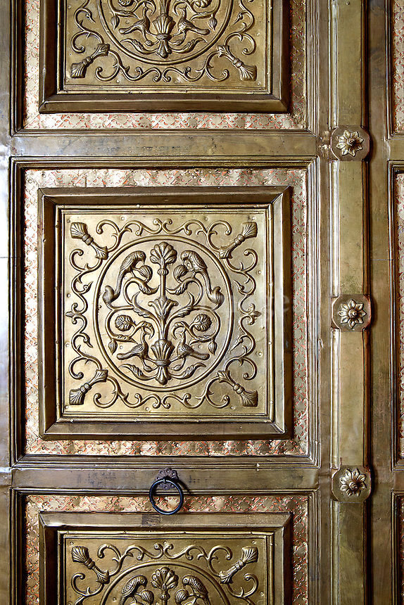 Carved brass door