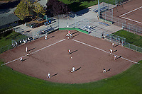 aerial photograph community baseball diamond Petaluma, Sonoma county, California