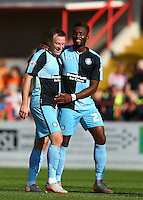 GOAL CELEBRATIONS for Garry Thompson of Wycombe Wanderers during the Sky Bet League 2 match between Exeter City and Wycombe Wanderers at St James' Park, Exeter, England on 26 September 2015. Photo by Pinnacle Photo Agency.