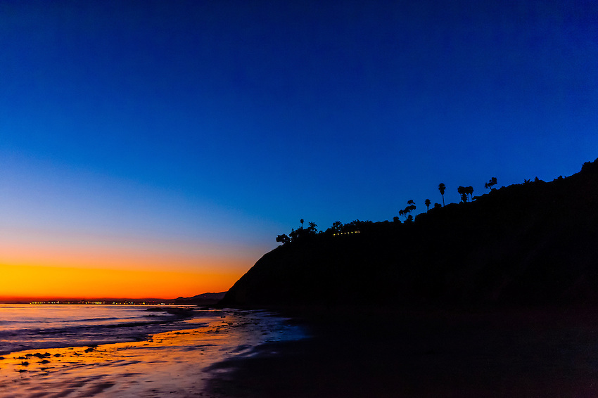 Twilight view, Hendry's Beach (Arroyo Burro County Beach Park), Santa Barbara, California USA.