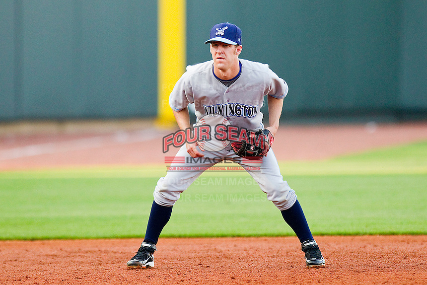 Third baseman Adam Frost #12 of the Wilmington Blue Rocks on defense against the Winston-Salem Dash at BB&T Ballpark on April 23, 2011 in Winston-Salem, North Carolina.   Photo by Brian Westerholt / Four Seam Images