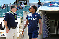 Cary, North Carolina  - Saturday August 19, 2017: Taylor Smith prior to a regular season National Women's Soccer League (NWSL) match between the North Carolina Courage and the Washington Spirit at Sahlen's Stadium at WakeMed Soccer Park. North Carolina won the game 2-0.