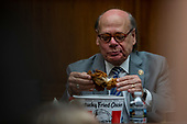 Representative Steve Cohen, Democrat of Tennessee, eats from a bucket of Kentucky Fried Chicken he brought with him prior to a hearing scheduled for Attorney General William Barr to testify about the Mueller Report before the United States House or Representatives Judiciary Committee on Capitol Hill in Washington, D.C. on May 2, 2019. Credit: Alex Edelman / CNP