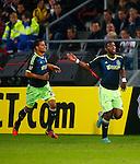 Nederland, Utrecht, 26 september  2012.Seizoen 2012-2013.KNVB Beker.FC Utrecht-Ajax.Ryan Babel (r.) van Ajax juicht nadat hij de 0-2 heeft gescoord. Links Ricardo van Rhijn van Ajax