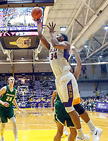 University at Albany men's basketball defeats Binghamton University 71-54  at the  SEFCU Arena, Feb. 27, 2018.  Alex Foster (#34) drives to the basket. (Bruce Dudek / Cal Sport Media/Eclipse Sportswire)