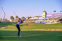 Thomas Detry (BEL) on the 18th during the 2nd round of the DP World Tour Championship, Jumeirah Golf Estates, Dubai, United Arab Emirates. 22/11/2019<br /> Picture: Golffile | Fran Caffrey<br /> <br /> <br /> All photo usage must carry mandatory copyright credit (© Golffile | Fran Caffrey)