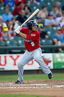 Oklahoma City RedHawks designated hitter Che-Hsuan Lin (5) at bat during the Pacific Coast League baseball game against the Round Rock Express on July 9, 2013 at the Dell Diamond in Round Rock, Texas. Round Rock defeated Oklahoma City 11-8. (Andrew Woolley/Four Seam Images)