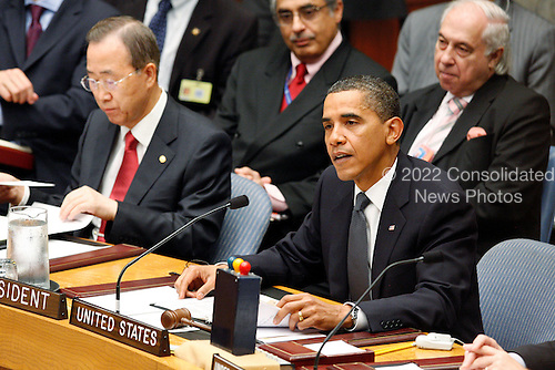 New York, NY - September 24, 2009 -- Barack Obama (front row, right), President of the United States of America, addresses the Security Council Summit on nuclear non-proliferation and disarmament. The Summit, which the President chaired, unanimously adopted resolution 1887 (2009), expressing the Security Council's resolve to create the conditions for a world without nuclear weapons at U.N. Headquarters in New York, New York on Thursday, September 24, 2009..Mandatory Credit: UN Photo/Eskinder Debebe via CNP