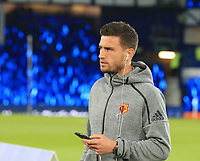 29th October 2019; Goodison Park, Liverpool, Merseyside, England; English Football League Cup, Carabao Cup Football, Everton versus Watford; Daryl Janmaat inspects the pitch prior to the match - Strictly Editorial Use Only. No use with unauthorized audio, video, data, fixture lists, club/league logos or 'live' services. Online in-match use limited to 120 images, no video emulation. No use in betting, games or single club/league/player publications