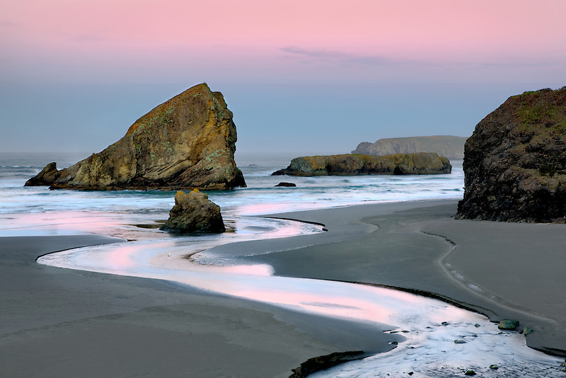 Sunrise at Cape Sabastian with Myers Creek. Oregon