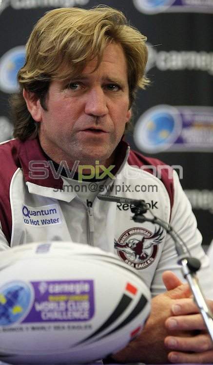 PICTURE BY VAUGHN RIDLEY/SWPIX.COM - Rugby League - Carnegie World Club Challenge - Preview Press Conference - Leeds Met Uni, Leeds England  - 26/02/09...Copyright - Simon Wilkinson - 07811267706...Manly's Head Coach Des Hasler speaks at today's Press Conference to promote the Carnegie World Club Challenge match this Sunday at Elland Road, Leeds.