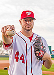 28 February 2016: Washington Nationals starting pitcher Lucas Giolito poses for his Spring Training Photo-Day portrait at Space Coast Stadium in Viera, Florida. Mandatory Credit: Ed Wolfstein Photo *** RAW (NEF) Image File Available ***