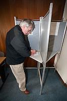Voter casting his vote at the Polling Station. .©shoutpictures.com..john@shoutpictures.com