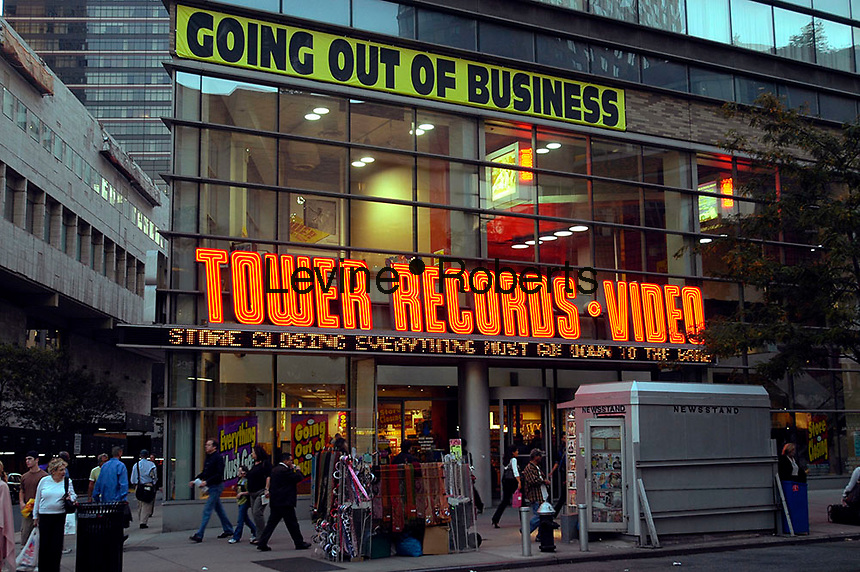The Tower Records and Video store on Manhattan's Upper West Side is seen on October 10, 2006. The bankrupt retailer's assests were purchased at auction by liquidation firm Great American Group which will begin to sell off the store's inventory and close down the business. Tower operated 89 stores and was founded in 1960.  (© Richard B. Levine)