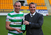 4th November 2017, McDiarmid Park, Perth, Scotland; Scottish Premiership football, St Johnstone versus Celtic;  Brendan Rodgers and Scott Brown with a bottle of champagne after they win and make it 63 straight domestic matches undefeated