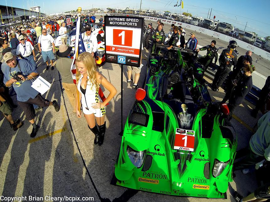The #1 HPD ARX 03b of Scott Sharp, Ryan Dalziel and David Brabham on the grid before the 12 Hours of Sebring, Sebring International Raceway, Sebring, FL, March 2014.  (Photo by Brian Cleary/www.bcpix.com)