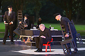 "11 July 2014, Muelheim/Ruhr, Germany. L-R: Rupert J Seidl, Ferhat Keskin, Voker Roos and Klaus Herzog. Roberto Ciulli's ""Theater an der Ruhr"" perform ""Antigone"" as part of their open-air season ""Weisse Naechte"" (White Nights) in Raffelbergpark, Muelheim an der Ruhr, Germany."