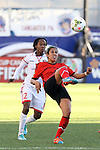 26 October 2014: Bianca Sierra (MEX) (right) and Ahkeela Mollon (TRI) (12). The Trinidad & Tobago Women's National Team played the Mexico Women's National Team at PPL Park in Chester, Pennsylvania in the 2014 CONCACAF Women's Championship Third Place game. Mexico won the game 4-2 after extra time. With the win, Mexico qualified for next year's Women's World Cup in Canada and Trinidad & Tobago face playoff for spot against Ecuador.