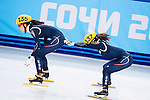 (L) Suk Hee Shim of Korea and (R) Ha-Ri Cho of Korea  during the Short Track Speed Skating as part of the 2014 Sochi Olympic Winter Games at Iceberg Skating Palace on February 10, 2014 in Sochi, Russia. Photo by Victor Fraile / Power Sport Images