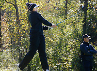 Waunakee's Elena Maier tees off on No. 10 during the Wisconsin WIAA state girls high school golf tournament on Monday, 10/14/19 at University Ridge Golf Course