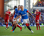 28.09.2018 Rangers v Aberdeen: James Tavernier celebrates as he makes it 4-0 from the spot