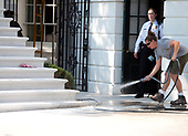 Contractor works on the newly renovated steps of the South Portico of the White House in Washington, DC on Tuesday, August 22, 2017. <br /> Credit: Ron Sachs / CNP