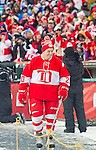 31 December 2013: Former Detroit Red Wings forward Mickey Redmond (20) walks towards the rink during player introductions, before the Toronto Maple Leafs v Detroit Red Wings Alumni Showdown hockey game, at Comerica Park, in Detroit, MI.