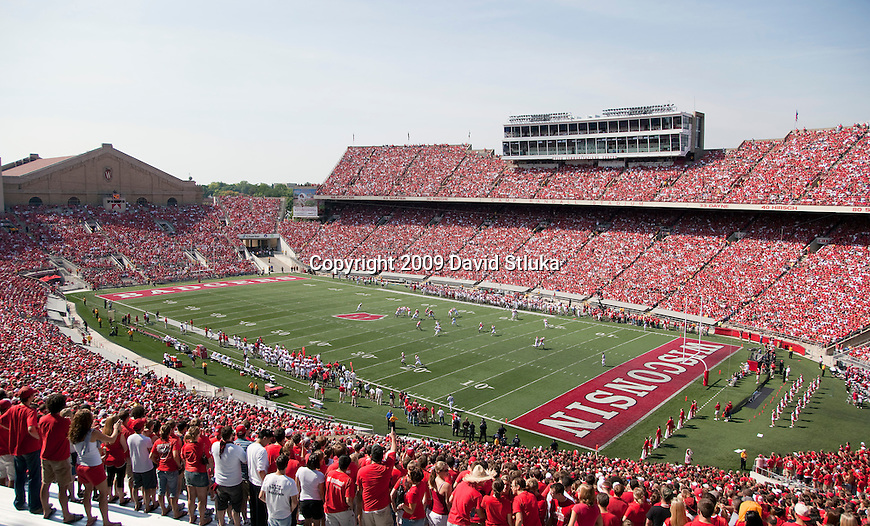A general view of Camp Randall Stadium during the Wisconsin Badgers NCAA football game against the Fresno State Bulldogs on September 12, 2009 in Madison, Wisconsin. The Badgers won in double overtime 34-31. (Photo by David Stluka)