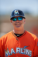 Miami Marlins Randy Ready (5) during a Minor League Spring Training game against the St. Louis Cardinals on March 26, 2018 at the Roger Dean Stadium Complex in Jupiter, Florida.  (Mike Janes/Four Seam Images)