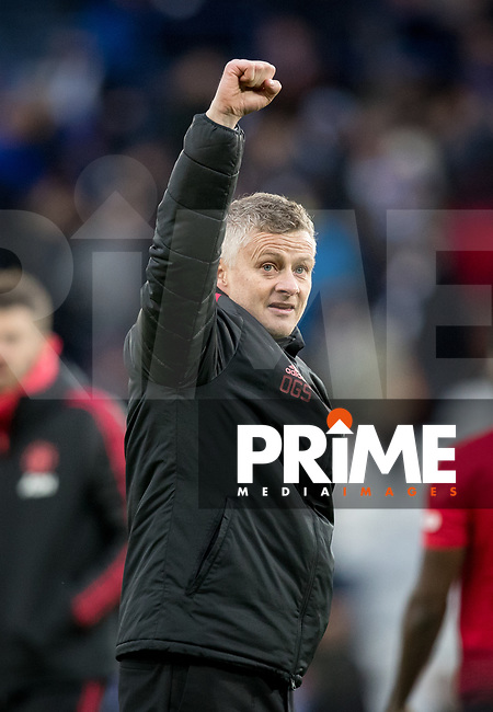 Ole Gunnar (Solskjaer) Solskjær Manager of Man Utd celebrates at full time during the Premier League match between Leicester City and Manchester United at the King Power Stadium, Leicester, England on 3 February 2019. Photo by Andy Rowland.