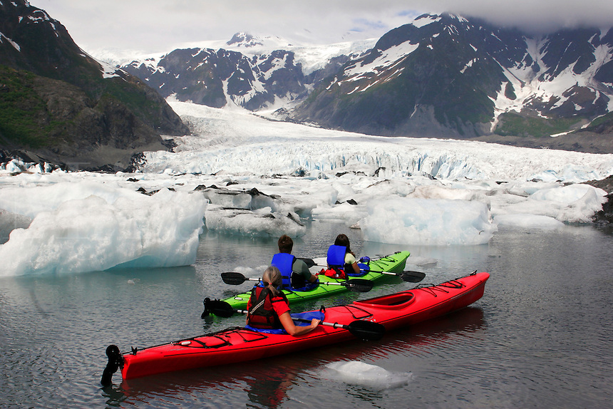 Kayaking in Pedersen Lagoon, Kenai Fjords National Park, Alaska. (model released
